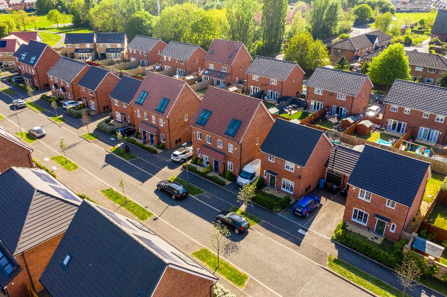 Drone photography of family housing development, Highfield Green, Kirkby