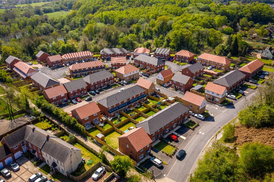 Drone photography of family houses at Silkin Green, Telford
