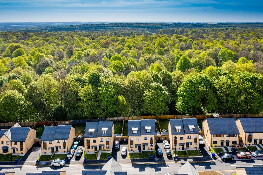 Aerial photography of family houses at Yew Gardens, Edlington