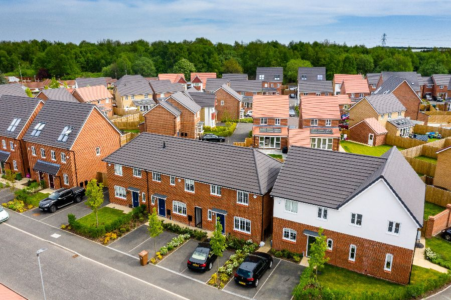 Drone photography of family housing development Juniper Grove, St Helens