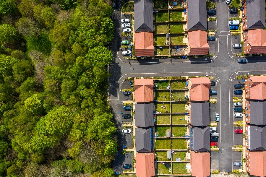 Aerial photography of houses at Shrewsbury Close, Middleton